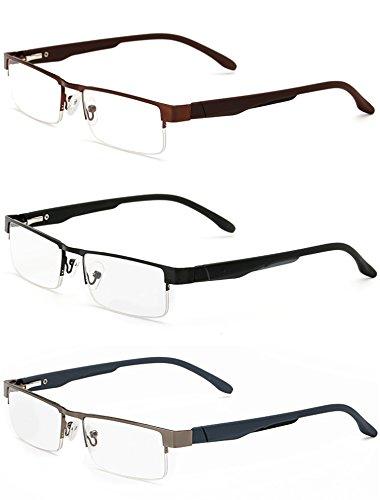 Twinkleyes Lesebrillen Metall Sehhilfe Augenoptik Halbrand Halbrandbrille Brille Lesehilfe für Damen Herren von 1.0 1.5 2.0 2.5 3.0 3.5 4.0 (3 Farben Set, 2.0)