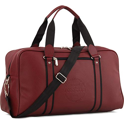 Travel Bag Leather Duffel Bag -Gym Bag-Soccer-Tote Bag-Weekender Bag For Men & Women-Tear Resistant-Waterproof-Strong Zipper (L 20inc-W 8inc-H 12inc)-(L 50cm-W 20cm-H 30cm)