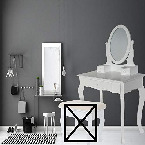 Style home Schminktisch mit Schwenkspiegel & 3 Schubladen Moderne Kosmetiktisch Frisierkommode Frisiertisch Make-Up Tisch, Holz Weiß (STE169C-3)