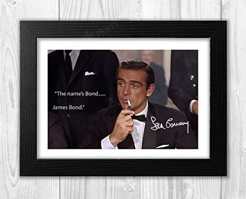 Engravia Digital Sean Connery 007 James Bond The Name's Bond…James Bond Reproduction Signed Poster Photo A4 PrintBlack Frame