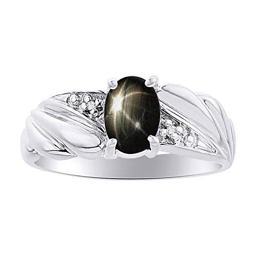 Juego de anillos de zafiro con estrella negra y diamante en oro blanco de 14 quilates y piedra de nacimiento