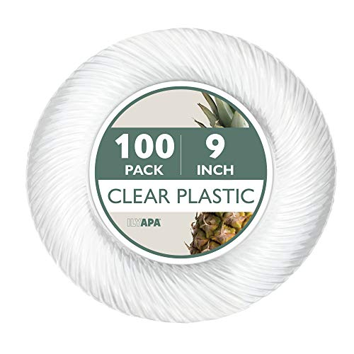100 Premium Clear Plastic Plates for Dinner Party or Wedding - 9 Inch Fancy Disposable Plastics Plates