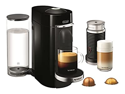 Nespresso by De'Longhi ENV155BAE VertuoPlus Deluxe Coffee and Espresso Machine Bundle with Aeroccino Milk Frother by De'Longhi, Black