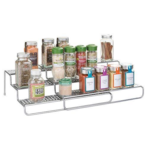 mDesign - Kruidenrek - perfect voor conservenblikken of potjes met kruiden en specerijen - voor in de keuken - uitschuifbaar/staal/met 3 etages - Zilver