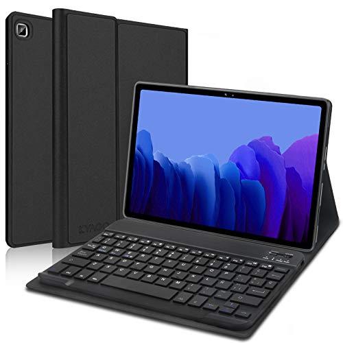 KVAGO Funda con Teclado para Samsung Galaxy Tab A7 10.4 Pulgadas 2020 SM-T505/T500/T507,Diseño en Español Ñ con Teclado Bluetooth Inalámbrico,Carcasa con Auto-Sueño/Estela,Negro