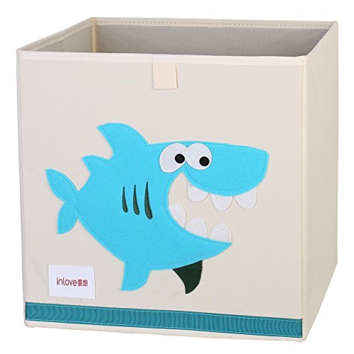 Caja Organizador Juguete plegable lona cubo Almacenamiento Dibujos Animados para Niños por ELLEMOI (Tiburón)