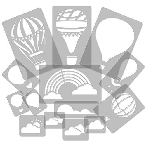 Plantillas de plástico reutilizables, 14 unidades, globo de aire caliente, nube, arcoíris, 34 cm a 8 cm, decoración de habitación de niños, plantilla de guardería