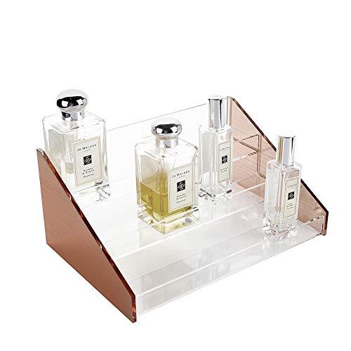 Moosy Life ML31 ピンクゴールドアクリル香水ディスプレイラック、3層