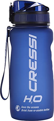 Cressi Water Bottle H20 Frosted Botella Térmica, Azul, 600 ML