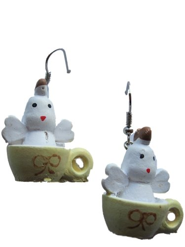 Ohrringe Hänger Ohrhänger Huhn Küken in Tasse / Becher Hähnchen Ostern Frühling Polyresin *806*