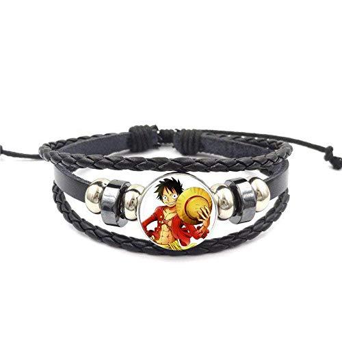 Glasur Für Mädchen Geschenk Schwarz Lederarmband Armreif One Piece Monkey D Ruffy