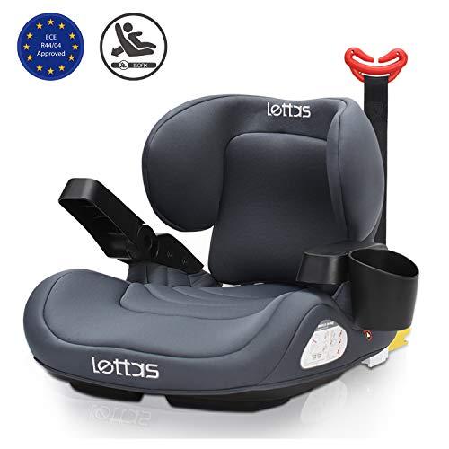 LETTAS Sige Auto, Oreillers Lombaires Rehausseur Auto Pour Enfant Avec ISOFIX Groupe 3 (22-36kg) 6 Ans 12 Ans ECE R44/04 (Gris-2)
