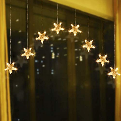 EAMBRITE Stars Window Curtain Lights 80 Warm White LED 8-Stars Curtain String Lights Twinkle String Lights for Home Patio Wedding Backdrop Christmas Decorations