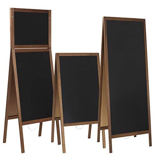 Kundenstopper/Aufsteller Kreidetafel (90 x 51 cm) beidseitig aus Holz Tafel Werbetafel Holztafel Werbeaufsteller