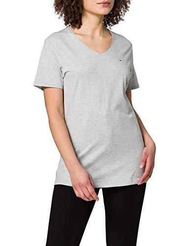 Tommy Jeans Tjm Slim Jaspe V Neck T-Shirt, Grigio Chiaro Htr, S Uomo