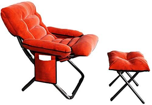 Sillas de Oficina Sillas de Oficina para el hogar, sillas de Escritorio, schair reclinable Ajustable schair sillón Asiento de salón con Taburete de reposapiés (Color : Orange)