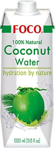 Foco Kokosnusswasser, exotisches Trendgetränk, erfrischender Durstlöscher, Sportgetränk, kalorienarm, 100 % vegan, (1 x 1000 ml)