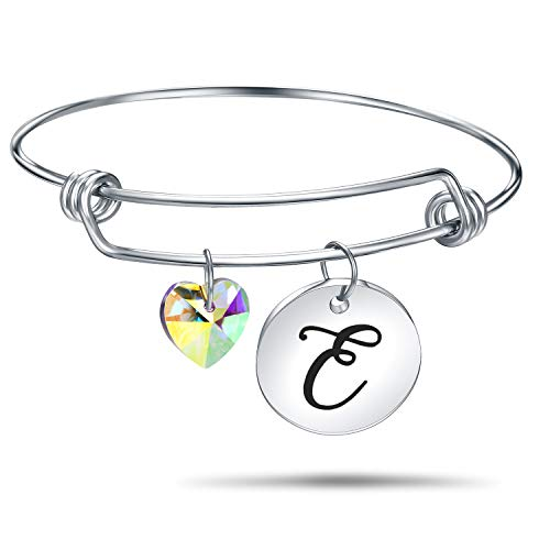 4MEMORYS Initial Alphabet Bracelet Letter Engraved Stainless Steel Material with Heart Crystal Personalized Charm Bangel Jewelry (E-Silver)