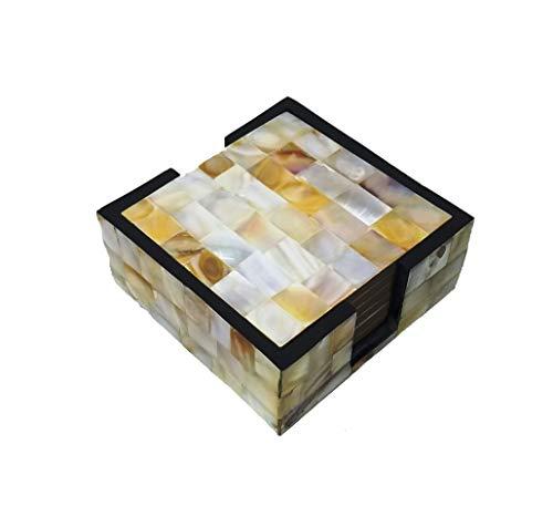 Buddha4all Handgemachte Getränkeuntersetzer 6er Set mit Halter zum Tischschutz, verhindert Kratzer oder Schäden an Möbeln für Teetassen, Kaffeebecher, Bierdosen, Bar, Tumbler und Wasserglas (Perlmutt)