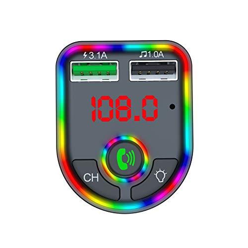A/H Wireless Bluetooth mit 2 USB Anschlüsse Typ C, Bluetooth Adapter Auto mit Farbig Backlit, Bluetooth Transmitter Auto mit MP3-Player (Schwarz)