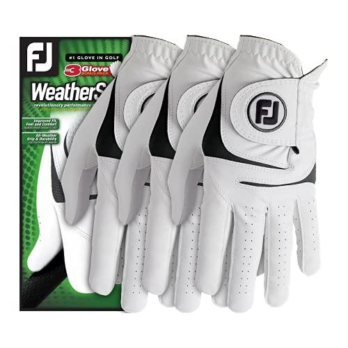 FootJoy Men's WeatherSof Golf Gloves, White, M
