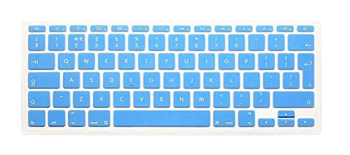 English Keyboard Cover Protector for MacBook Air 11' 11.6 Inch English Euro Keyboard Cover Silicone Skin for Mac A1370 A1465-Lake Blue