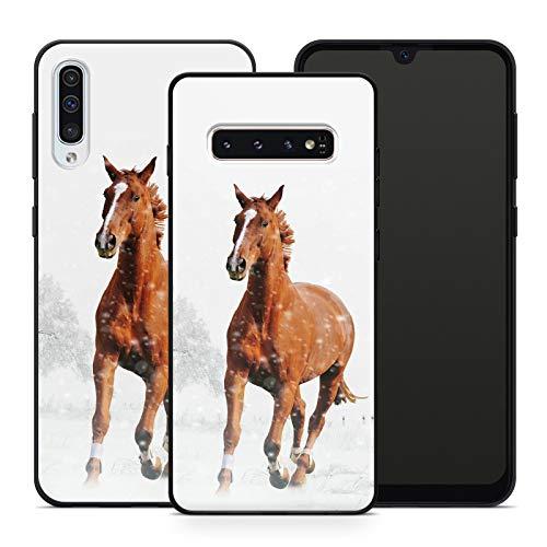 Handyhülle Pferd für Samsung Silikon MMM Berlin Hülle Pferde Natur Reiter Horse Einhorn Reiten Pony, Hüllendesign:Design 3   Silikon Schwarz, Kompatibel mit Handy:Samsung Galaxy A51