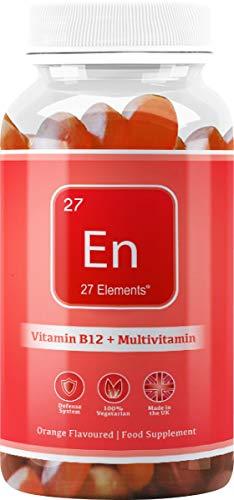 Vitamin B12 + MultiVitamin Gummy Vitamins | Natural Orange Chewable Gummy Vitamins for Adults & Children | One Months Supply - 30 Gummies | All-Natural, Gluten Free and Palm Oil Free Gummies