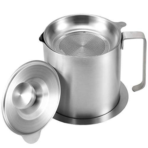 AQUIVER 1.2L Stainless Steel Grease Strainer - Oil Container with Removable Filter - Dustproof Lid & Dripproof Base - Bacon grease Storage Can for Reusable Cooking Frying Oil, Fat (1.2L)