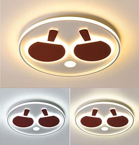 JiesenAN 52W LED 3-Ton Deckenleuchte Kreativer Tischtennisschläger Kinderzimmerbeleuchtung Augenpflege Kindergartenlampe Aluminium Acryl Runde Deckenleuchte,Red,D60*H5.5CM