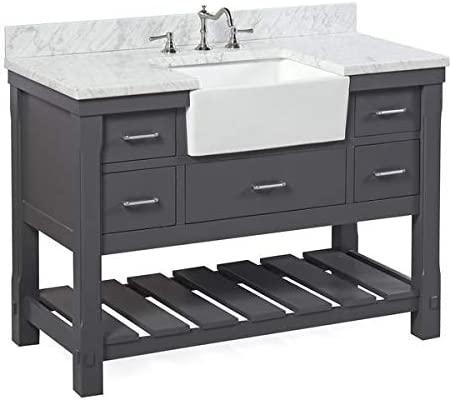Charlotte 48 Inch Bathroom Vanity Carrara Charcoal Gray Includes Charcoal Gray Cabinet With Authentic Italian Carrara Marble Countertop And White Ceramic Farmhouse Apron Sink Amazon Com