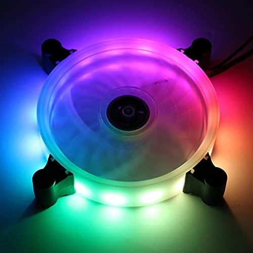 XiaoMall 12 cm 16 millones de color RGB LED silencioso ordenador PC ventilador de refrigeración+control remoto