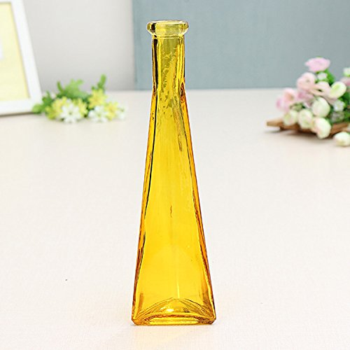 Bluelover Color Claro Vidrio Mini Florero Zakkz Botella Vidrio Adornos Flor Arreglos Decoración Hogar-Amarillo