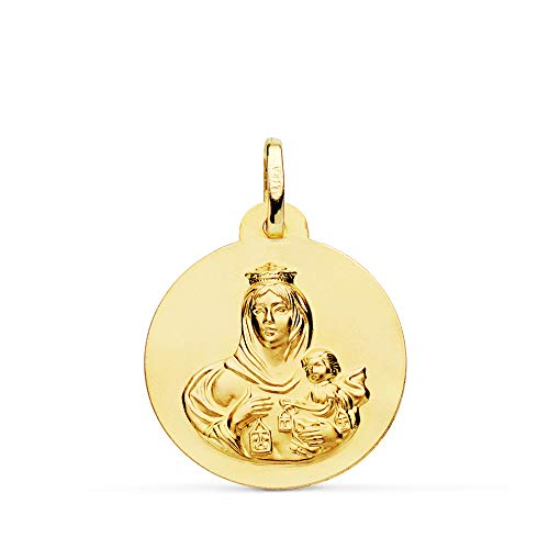 Medalla Escapulario V. Carmen y C. Jesús Oro 18 Kilates Redonda 22mm