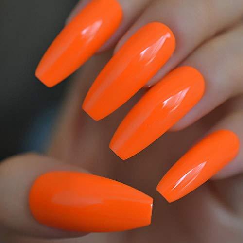 Rpbll Coffin Gel Extra Long Nail Carrot Orange Fashionable Ballet Fake Nail Acrylic Full Cover Nail Art Tips-L5209