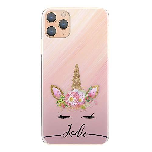Hairyworm Personalizzato Iniziali Telefono Custodia per Samsung Galaxy S5 Mini, Nero Nome E Unicorn su Rosa Marmo Rigida Cover Cellulare, Unicorn Custodia