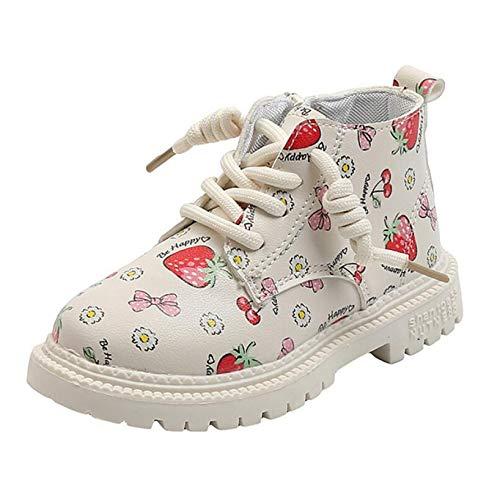 Botas de Nieve para niños, Botas de Invierno para niñas, cálidas, Antideslizantes, Impermeables, con Cordones, Zapatos Casuales, Botines con Cremallera de Cuero Plano y tacón bajo para niños
