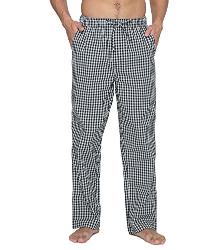 LAPASA Herren Schlafanzughose Kariert Hose Lang Baumwolle Pyjamahose Nachtwäsche M38A1