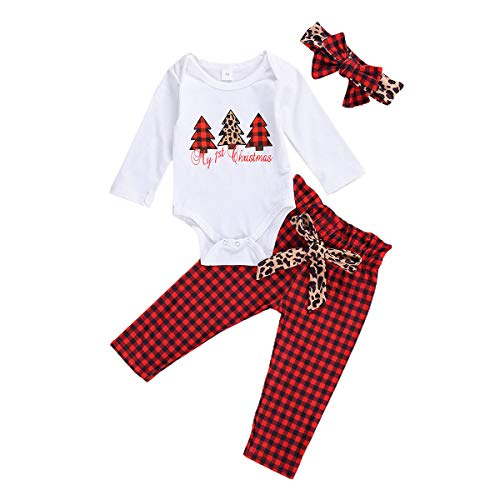 Newborn Baby Girls Christmas Outfits My First Christmas Romper Top Plaid/Leopard Pants Pajamas Headband Set (White+Plaid, 0-3M)