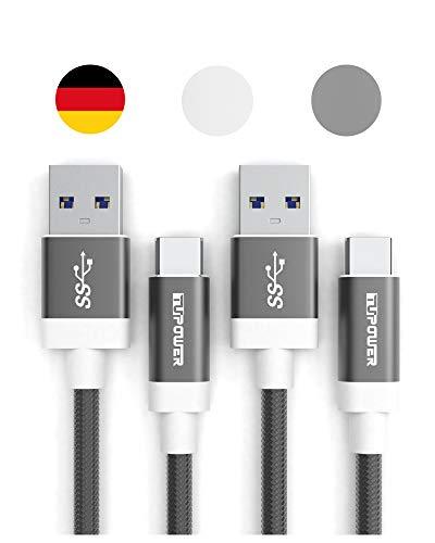 TUPower K05 USB C auf 3.0 Kabel geeignet als Quick-Charge Ladekabel kompatibel mit Samsung Galaxy S20 S10 S9 Plus A80 A70 A71 A50 A51 A40 A20e Typ C 1m 2 Pack