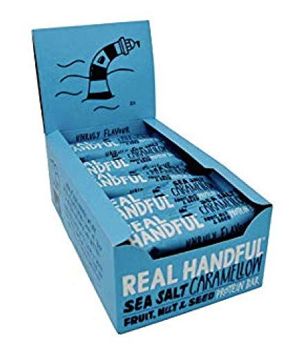 Real Handful Sea Salt Caramellow Fruit, Nut & Seed Protein Bars (20 x 40g) - Gluten Free, Vegan, No Refined Sugar - Chewy, Crunchy and Outrageously Tasty - The Perfect Guilt-Free Plant Protein Snack!