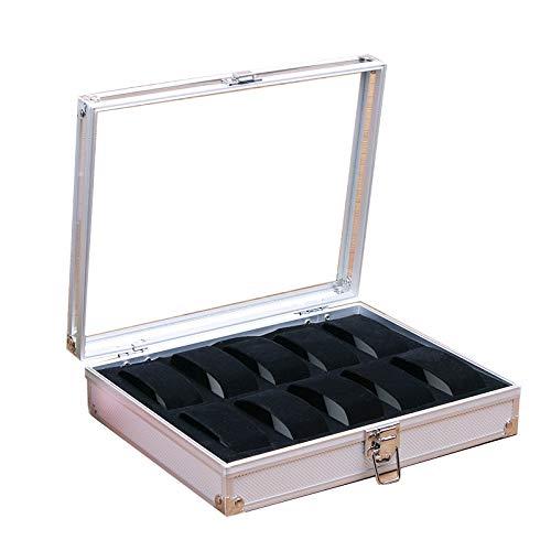 GYMEIJYG Caja De Almacenamiento De Reloj Aluminio 10 Ranuras Cierre De Metal Caja De Reloj con Tapa De Cristal Caja De Reloj para Mujer para Guardar Relojes (Color : White, Size : 26x21x6.5cm)