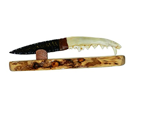 XoticBrands Native Indian Coyote Jaw Obsidian Blade Knife
