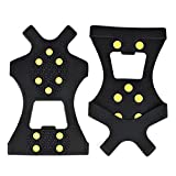 Ice Snow Grips 10 Studs Anti-Slip Winter Ice Grippers Snow Traction Cleats Crampon Spikers Ice Traction Slip on Boots Shoes Cover for Hiking Fishing Climbing for Men Women Children (M)