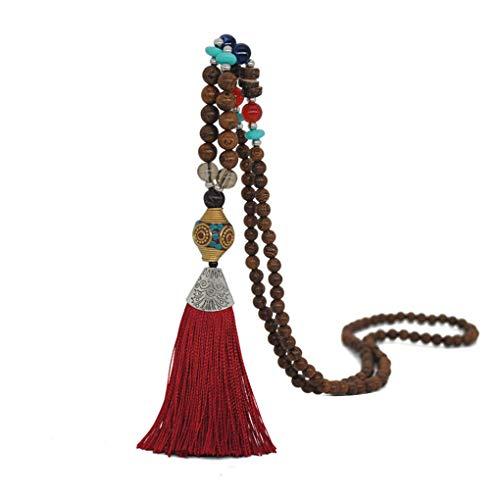 Forbestest Cadenas borla colgante collar de perlas muchachas de las mujeres suéteres largo collar de estilo étnico joyería