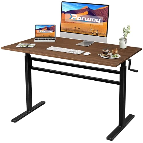 Standing Desk Adjustable Height, Crank Adjustable Sit to Stand Desk with Steel Frame, Stand Up Desk, Home Office Ergonomic Manual Standing Desk (Walnut)