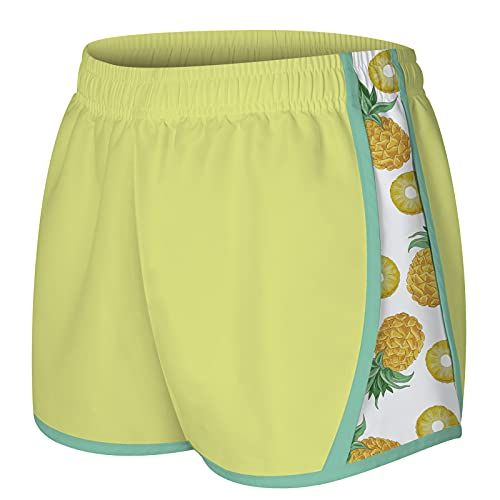 NEWISTAR Women's Summer Shorts Casual Pineapple Graphic Swim Trunks Drawstring Elastic Waist Beach Shorts Hot Pants