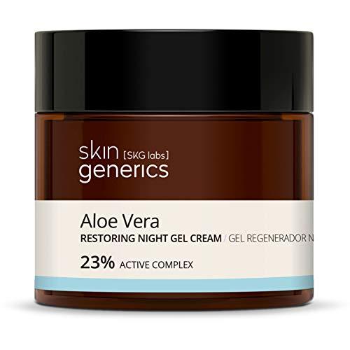 Skin Generics | Gel Facial Regenerador con Aloe Vera | 50ml | 23% Complejo Activo | Gel Facial Noche | Hidratante y Antioxidante | Evita la Deshidratación | Sin Parabenos ni Parafinas | 100% Vegano