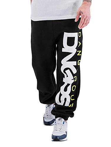 Dangerous dngrs Uomini Jogging Pantaloni Crosshair BaggyFit Sweat Pants In Nero