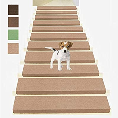 """Non Slip Bullnose Carpet Stair Treads,Indoor Stair Runners for Steps,Soft Stair Rugs for Kids,Elders,and Dogs Safety, Set of 14 Carpet Treads for Wood Stairs,Self Adhesive,9"""" x28""""x1.8"""",Beige"""